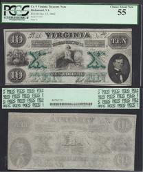 $10 1862 Obsolete Virginia Treasury note PCGS