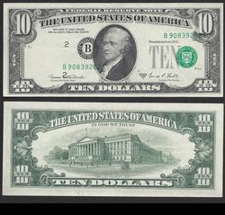 $10 1969-C FRN Misaligned Overprint, dramatic.