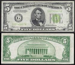 $5 1934 Light Green Seal FRN Nice color