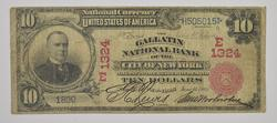 1902 $10 Charter #: E1324 Gallatin Nat'l Bank of New York Large Note
