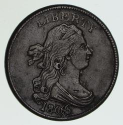 1806 Draped Bust Half Cent - Large 6, Stems - Circulated