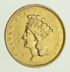 1854-O Indian Princess Head Gold Three Dollars - Circulated