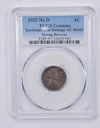 Genuine AU Detail Strong Reverse 1922 No D Lincoln Wheat Cent - PCGS