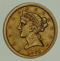 1860-C $5.00 Liberty Head Gold Half Eagle - Circulated