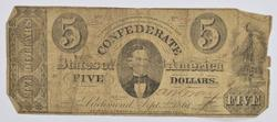 1861 Issue $5 Confederate States of America Note