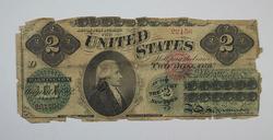 1862 $2 New York Treasury Note - Civil War Era