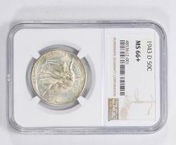 MS66+ 1943-D Walking Liberty Half Dollar - NGC Graded
