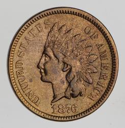 1876 Indian Head Cent - Near Uncirculated