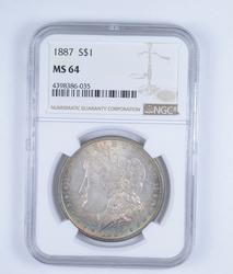 MS64 1887 Morgan Silver Dollar - Rainbow Toned - Graded by NGC