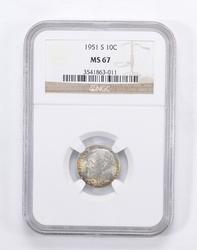 MS67 1951-S Roosevelt Dime - Toned - Graded by NGC