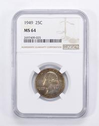 MS64 1949 Washington Quarter - Toned - Graded by NGC