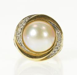 14K Yellow Gold Pearl Diamond Swirl Halo Cocktail Statement Ring