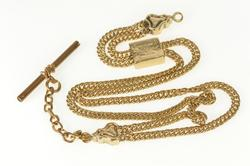 Gold Filled Ornate Victorian Pocket Watch Chain Curb Link Necklace