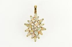 14K Yellow Gold Pear Natural Opal Diamond Cluster Statement Necklace