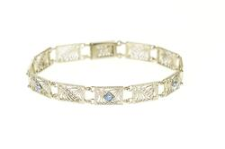 14K White Gold Art Deco Ornate Filigree Syn. Sapphire Bracelet