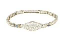 10K White Gold Diamond Syn. Sapphire Ornate Art Deco Bracelet