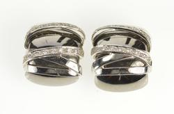 18K White Gold Two Tone X Pattern Criss Cross Statement Clip Earrings