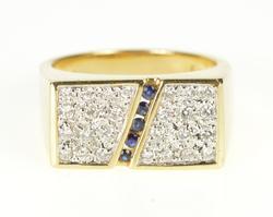 14K Yellow Gold Squared White Black Diamond Stripe Statement Ring