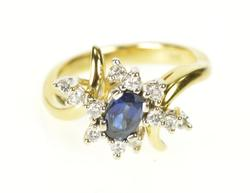 18K Yellow Gold Sapphire Diamond Bypass Engagement Ring