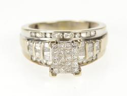 10K White Gold 1.64 Ctw Princess Cluster Diamond Engagement Ring