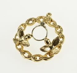 14K Yellow Gold Diamond Engagement Ring Dove Engagement Charm/Pendant