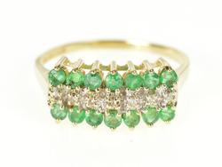 10K Yellow Gold Emerald Diamond Tiered Squared Band Ring