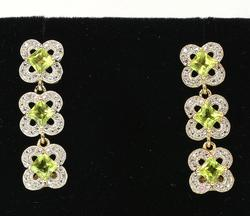 Shimmering Peridot & White Topaz Dangle Earrings in Vermeil