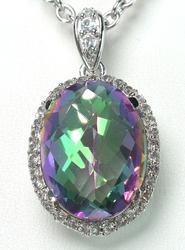 Mystic Quartz & White Topaz Necklace in Sterling Silver