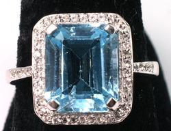 Gorgeous 7.28CTW Blue & White Topaz Ring in Sterling Silver