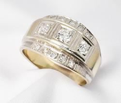 Handsome Diamond Men's Ring in 14K White Gold