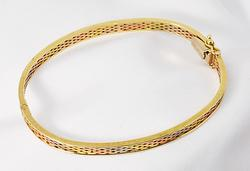 Lovely Tri-Color 14K Bangle Bracelet