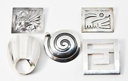 Five Tasteful Broaches in Sterling Silver