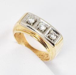 Bold Men's 3-Diamond Ring in 10K W&Y Gold