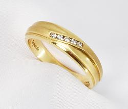 Attractive 14K Men's Wedding Band with Diamonds