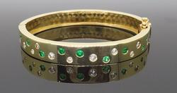 Custom Made Diamond & Emerald Bangle Bracelet