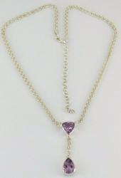 Italian Sterling Silver Amethyst Necklace
