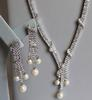 Synthetic Pearl and Crystal Necklace, Earrings. Bracele