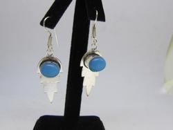 silver tone color stone earrings
