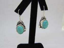 Silver Tone Coloe Stone Dangle Earrings