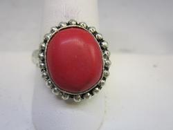 silver tone color stone ring