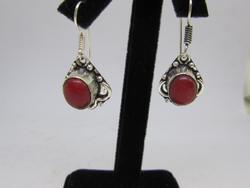 silver tone color stone earrings