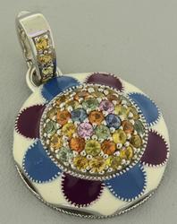 925 Sterling Silver Multi Gemstone Pendant