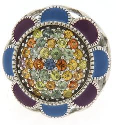 Huge Multi Gemstone Sterling Silver Ring