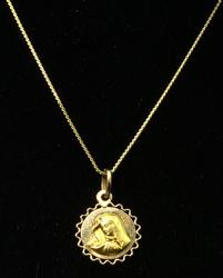 Religious Pendant & Chain in 18KT Yellow Gold