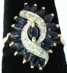 Fancy Sapphire Ring with Diamond Accents in Gold