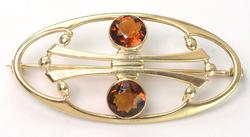 Vintage Pin with Citrine in Gold
