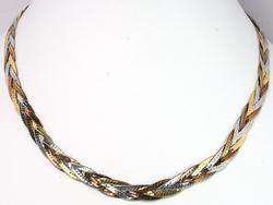 18KT Tri-Color Gold Braided Necklace