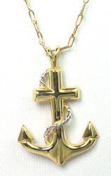 14KT Anchor Cross Pendant with Chain