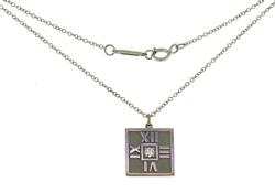 Tiffany & Co 18K Atlas Pendant Necklaced with Diamond