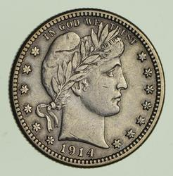 1914-S Barber Quarter - Circulated